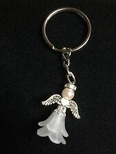 Guardian Angel Fairy With Rhinestone Halo Heart Wings Keyring
