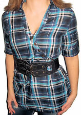 New CORSET BELTED Black & Blue PLAID Button Top TAB SLEEVE Shirt Small S