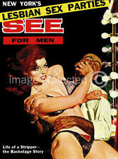 Lesbian Sex Parties See For Men Vintage Pulp Art Poster 18x24