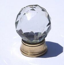 Glass / Cut glass small round crystal clear pull knobs brass base