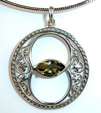 MOLDAVITE  PENDANT - Chalice Well Design - with Certificate - Sterling Silver