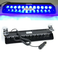 Blue Car Vehicle Dashboard Visor Emergency Warning 12 LED Strobe Flash Light