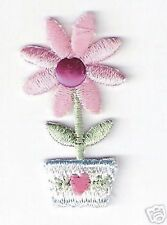 "1.5"" Pink 5 Petal Flower Pot Embroidery Patch"