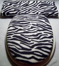 ZEBRA black white stripe fleece Elongated Toilet Seat Lid and Tank Lid Cover Set