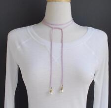 """Purple choker wrap necklace faux suede 48"""" long tie bow choker skinny faux pearl"""