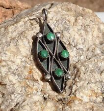 DEEP Patina Green Turquoise Native American Pendant or charm Sterling Silver SW