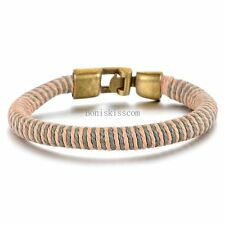 Colorful Woven Leather Cord Rope Strap Bracelet Easy Hook Wristband for Men