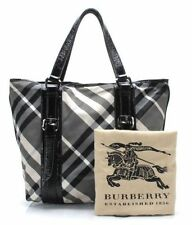 Burberry Beat Check Medium Nylon Leather Tote Shoulder Bag Purse Special Edition