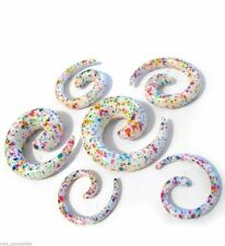 PAIR-Tapers Spiral Splatter Confetti Acrylic 08mm/0 Gauge Body Jewelry