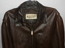 M JULIAN/WILSONS BROWN LEATHER JACKET! BUCKLE BACK! ACTION SHOULDERS! QUILTED! L