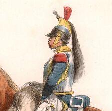 Gravure XIXe Cuirassié Cavalerie Napoléon Bonaparte Grande Armée Premier Empire