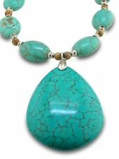 Women's Oversized Turquoise Teardrop Statement Pendant Necklace