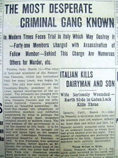 BEST 1911 display newspaper 1st TRIAL of Earliest Mafia NAPLES Italy THE CAMORRA