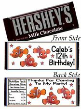 12 Finding Nemo Birthday Party OR Baby Shower Candy Hershey Bar Wrappers
