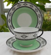 Antique Royal Worcester Green & Flower Pattern Cup, Saucer & Plate Trio c1919