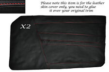 RED STITCH 2X DOOR CARD LEATHER SKIN COVERS FITS TRIUMPH TR6 1969-1976