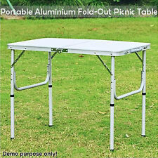ALUMINIUM FOLDING PORTABLE GARDEN CAMPING PICNIC BBQ TABLE HEIGHT ADJUSTABLE 90