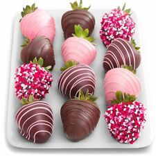 NEW Premium 12 Love Berries Chocolate Covered Strawberries By Golden State Fruit