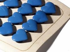 Original Card (24) 17mm Czech Deco Vintage blue heart press molded glass buttons