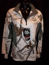 NEW! ~ REALTREE APC Performance WHITE Camo Qtr. Zip Base Top Jacket Ladies MED