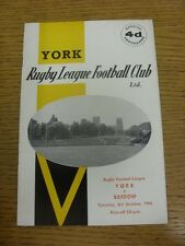 03/10/1964 Rugby League Programme: York v Barrow  . Condition: We aspire to insp