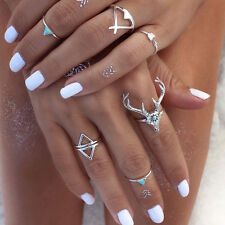 7PCS Fashion Jewelry Silver Plated Turquoise Arrow Deer Head Triangle Rings New