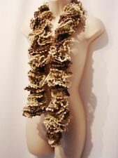 Scarf  Stole Wrap Pom Pom Boa  Beige Brown Can Can Charleston