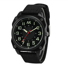 AK Homme Black Canvas Band 24hrs Dial Military Style Mens Sport Wrist Watch