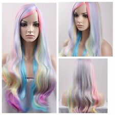 Women Lolita Color Mix Long Wavy Curly Ombre Wigs  Synthetic Cosplay Party Wig