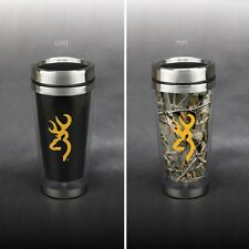 BROWNING BUCKMARK CAMO TRAVEL COFFEE MUG - CHANGES with TEMPERATURE - CAMOUFLAGE