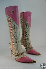 SUPER GORGEOUS !! HAMLET COUTURE  PYTHON AND CRYSTAL BOOTS EU 38 US 7.5.