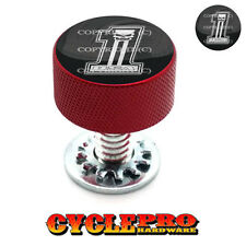 Red Knurled Billet Seat Bolt 96-UP Harley Touring USA NO # 1 SKULL - 074