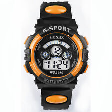 HONHX Waterproof Kid's Watches Sport Boy Digital LED Alarm Date Wrist Watch OR