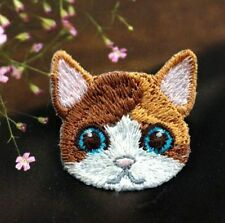 Embroidered Cloth Iron On Patch Sew Motif Applique Cute Cat Head DIY Patch
