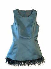 Double Face Satin Scoop Neck Sleeveless Fitted Top with Feathers - SZ 2 Teal