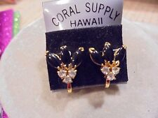 GENUINE BLACK CORAL / CRYSTAL FAN 18KT GF.SCREW BACK EARRINGS   NEW/VINTAGE