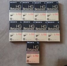 9 Sony HG Betamax L-750 Video Cassette Tapes NOS
