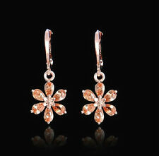 18K ROSE GOLD PLATED HOOP CHAMPAGNE FLOWER CZ CRYSTAL DROP DANGLE EARRINGS