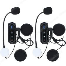 2x 1000M Wireless Bluetooth Casco Da Moto Interfono Interphone Cuffie + FM