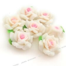 100pcs White Flowers FIMO Polymer Clay Beads Fit Jewelry Making Charms Hotsale C