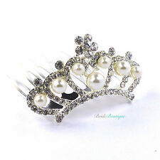 Bride Bridesmaid Wedding Crystal & Pearl Vintage Hair Comb Small Mini Tiara TH16