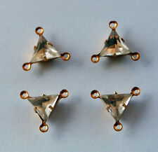 VINTAGE 4 CLEAR PATCHWORK GLASS TRIANGLE 3 HOLE CONNECTOR PENDANT BEADS 8mm