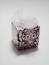 100 Square Flourish Black White Damask Scroll Gift Boxes Wedding Party Favors