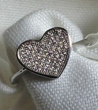 Flat Heart Shape Ring - Sterling Silver 925, Micro Pave ,Cubic Zirconia CZ