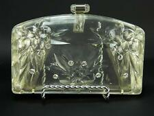 Vintage 1950s Clear Carved Lucite Acrylic & Rhinestone Clutch Purse Handbag