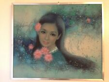 Pre-Own SIGNED Hand Painted Asian Lady Painting -- Auction Find -- Artist Unkown