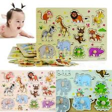 Zoo Animal Wooden Jigsaw Board Children Kid Baby Learning Educational Puzzle Toy