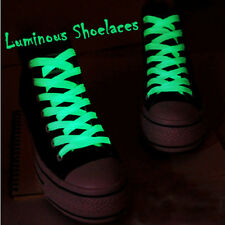 1 Piar Glow In The Dark Shoelace Luminous Boots Shoe White Flat Laces Strings