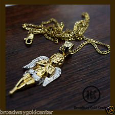 14k Solid Two Tone Gold Angel Pendant W/ 14k Solid Yellow Gold Cuban Link Chain