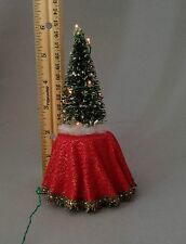 Doll house miniature 1/12th scale lighted Christmas tree on table